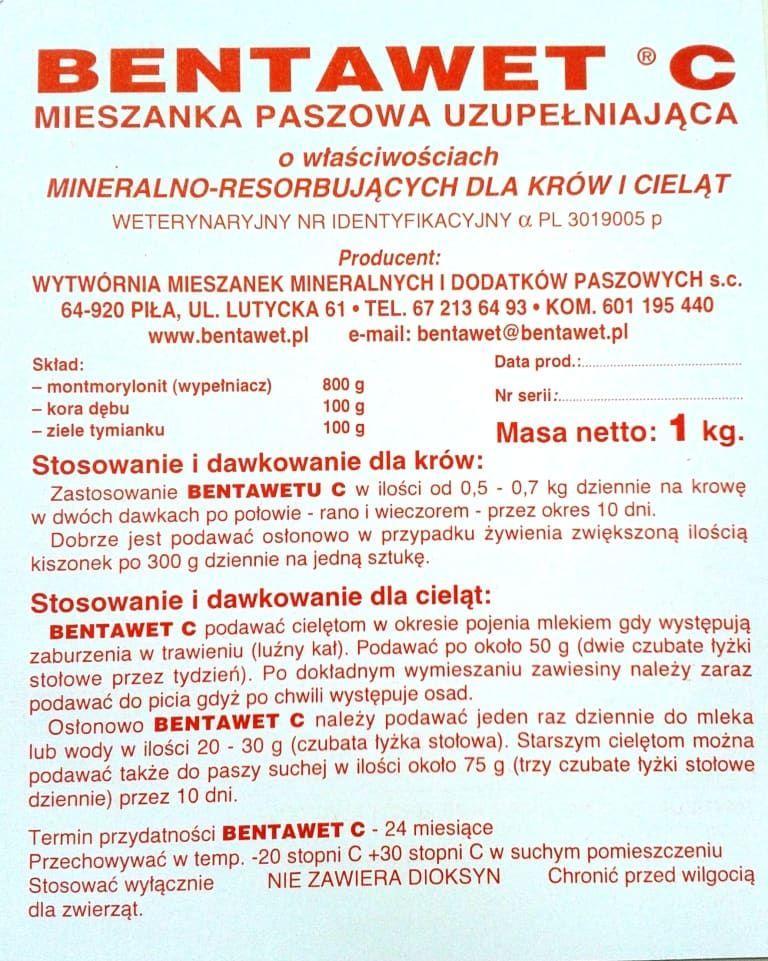 Bentawet C 1 str. ulotki preparat na biegunke biegunki biegunka u cielat