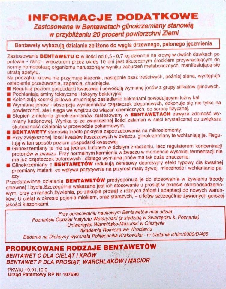 Bentawet C 2 str. ulotki preparat na biegunke biegunki biegunka u cielat