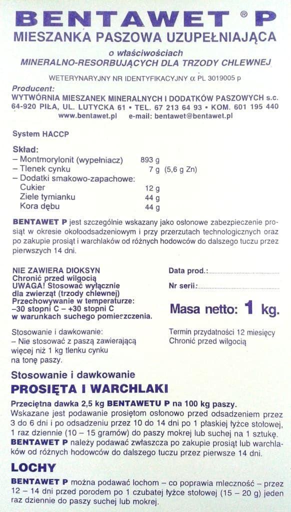 Bentawet P 1 str. ulotki na biegunke biegunka biegunki prosiat
