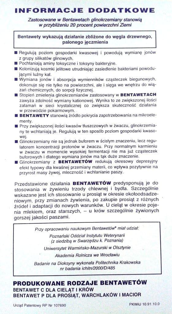 Bentawet P 2 str. ulotki na biegunki biegunke biegunka cielat BENTAWET P na biegunkę dla prosiąt , biegunki u warchlaków , nieżyt jelit u tuczników ; stosowany również gdy występuje biegunka u loch ( macior
