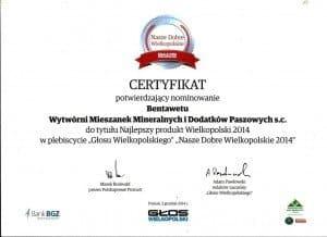 Bentawet certyfikat